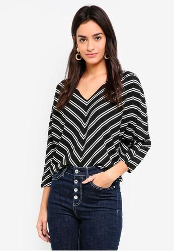 ZALORA black and white Batwing Stripe Top 6E4AFAAB679A10GS_1