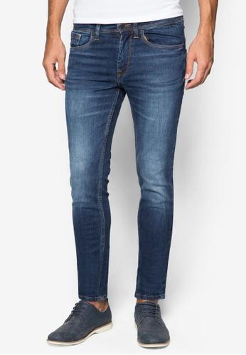 Burton Menswear London 藍色 水洗窄管牛仔褲 BU838AA77SQSSG_1
