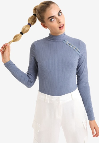 PIMKIE blue Funnel-Neck Thermal Ribbed Top A4451AAA895343GS_1