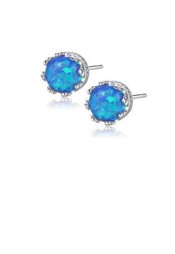 Glamorousky blue 925 Sterling Silver Simple Fashion Geometric Round Blue Imitation Opal Stud Earrings 1CCC5AC006AD9FGS_1