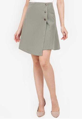 ZALORA WORK green Contrast Stitching Side Button Skirt 9412AAA7E9DBDAGS_1