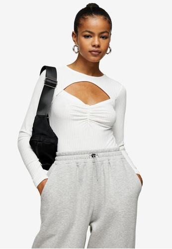 TOPSHOP white Cream Sweetheart Print Bodysuit 60BE8AAF83F7C5GS_1