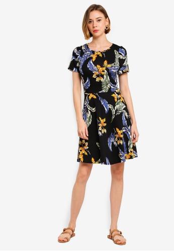23ed9c7f502 Buy Dorothy Perkins Navy Tropical Short Sleeve Skater Dress