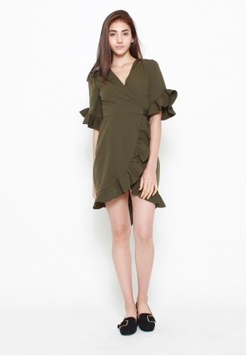 QLOTHE green Alys Ruffle Wrap Dress BBC79AA65F3929GS_1