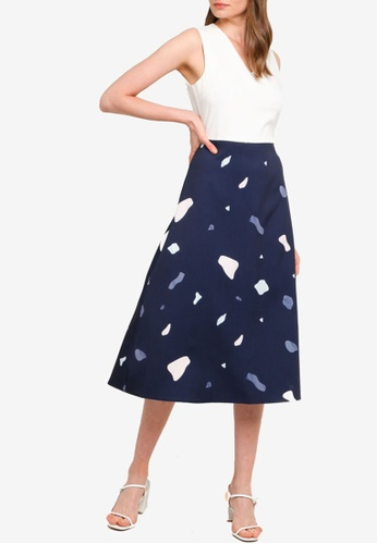 ZALORA WORK multi Print & Plain V Neck Midi Dress 36A9AAAEC21E69GS_1