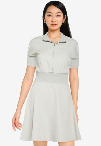 ZALORA BASICS green Contrast Zip Up Knit Fit And Flare Dress DFB4FAA5626242GS_1