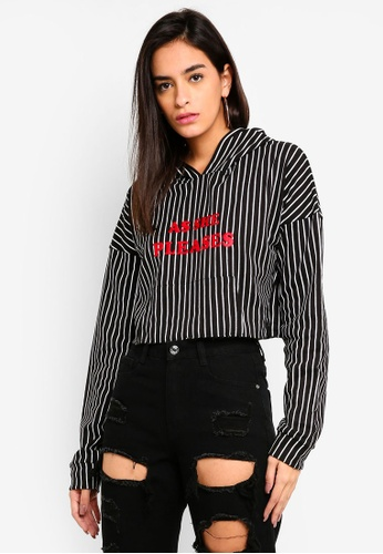 5b790bbd6980a MISSGUIDED black Madison Beer Pinstripe Oversized Hoodie 69654AA030BFFFGS 1