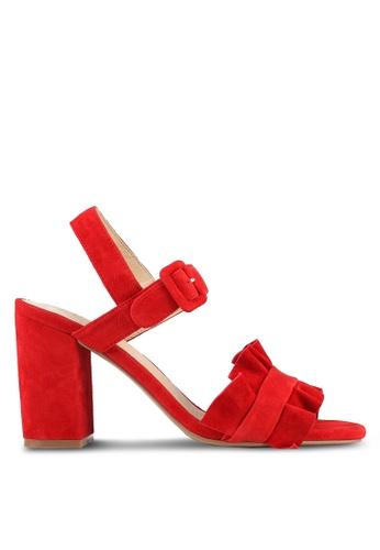 E8 by Miista 紅色 麂皮荷葉飾粗跟涼鞋 E8283SH0STHQMY_1