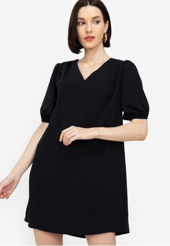 ZALORA WORK black Gathered Shoulder A Line Dress A7EF6AAE4094ABGS_1