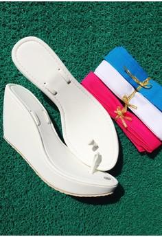 Caca's Ayee DIY White Wedge - Pink Ribbon