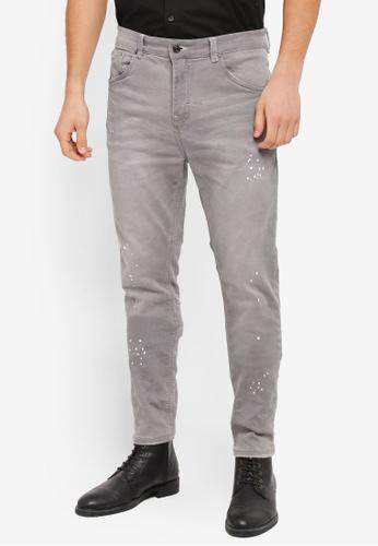 CR7 grey Tapered Leg Knit Denim Jeans CR532AA0SZ91MY_1