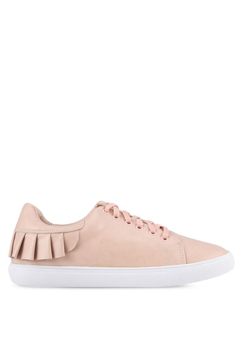 Velvet beige Frill Lace Up Sneakers B36B9SH6D19C55GS_1