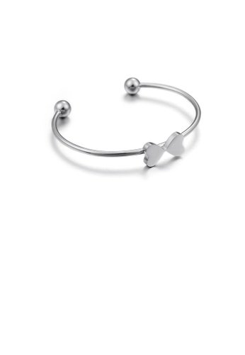 Glamorousky silver Simple and Fashion 316L Stainless Steel Heart-shaped Open Bangle 51385AC29E38BAGS_1