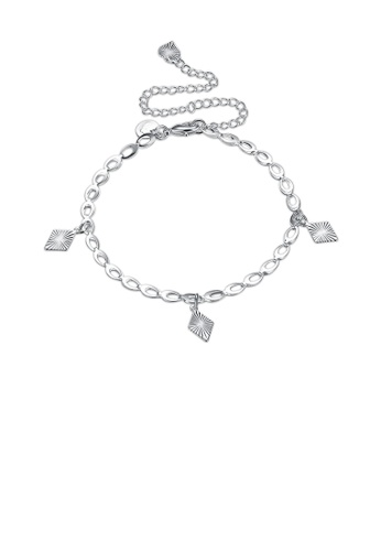 Glamorousky silver Fashion Simple Geometric Diamond Anklet 1221BAC018AFF4GS_1