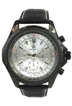 Orkina Men's Silver Dial Chronograph Japan Quartz Leather Strap Watch
