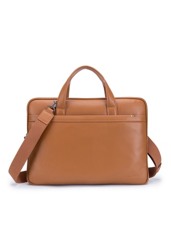 """ENZODESIGN brown Premier Full Grain Leather Light Weight Slim Briefcase(Fit 14"""" Notebook) SG12196TAN 8FB8BAC056B545GS_1"""