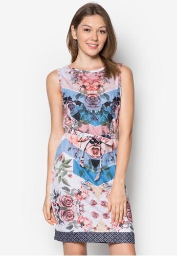 Nebel 印花zalora 包包 ptt繫帶連身裙, 服飾, 夏日洋裝