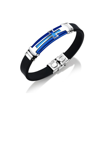 Glamorousky silver Fashion Simple Plated Blue Cross Geometry 316L Stainless Steel Silicone Bracelet 0E52FAC9829278GS_1