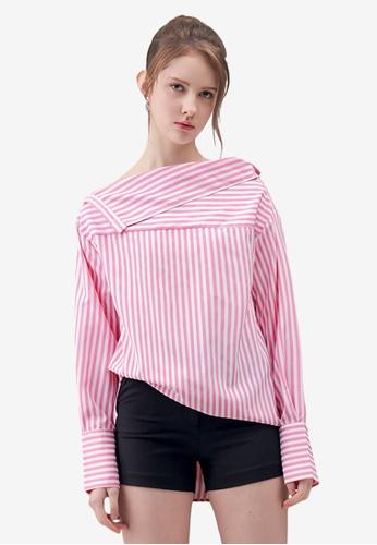 Kodz pink Striped Off-Shoulder Shirt 905F5AA10CF321GS_1