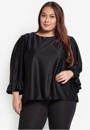 RUESALIDOU black Plus Quarter Sleeves Ruffled Sleeve Blouse RU833AA0K851PH_1