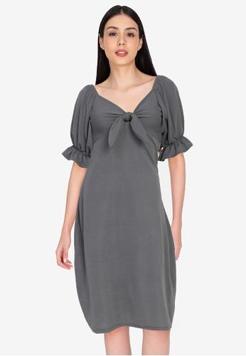 DEITY grey Puff Sleeve Bow Midi Dress 4255AAAB67F9E8GS_1