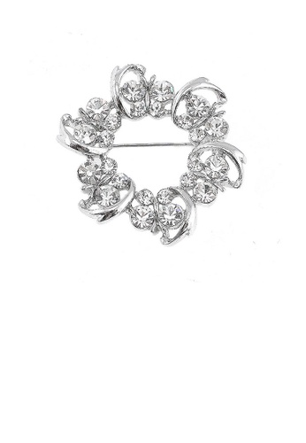 Glamorousky silver Dazzling Butterfly Garland Brooch with Silver Austrian Element Crystal D433DAC1764141GS_1
