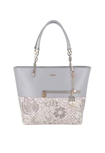 SEMBONIA grey Blooming Lover Large Shoulder Tote Bag 8752AAC1A15930GS_1