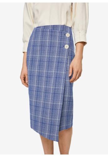 Mango blue Check Wrap Skirt 9853BAA3065EB5GS_1