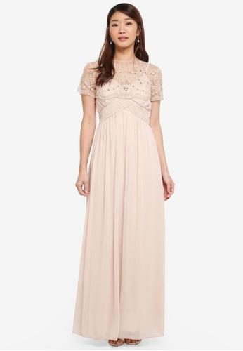 Little Mistress beige Cape Maxi Dress 8E83AAA81A9013GS_1