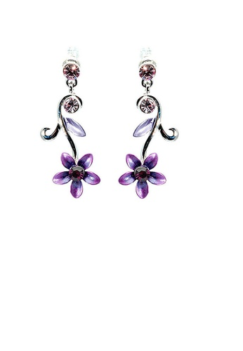 Glamorousky purple Purple Flower Earrings with Austrian Element Crystals DB976ACA8B47E6GS_1