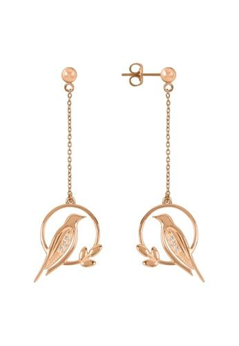 Sara Miller gold Sara Miller London -Signature - Diamond Bird Drop Earrings (Rose Gold) (SAJS1030-HM) 000E0ACBE734D9GS_1