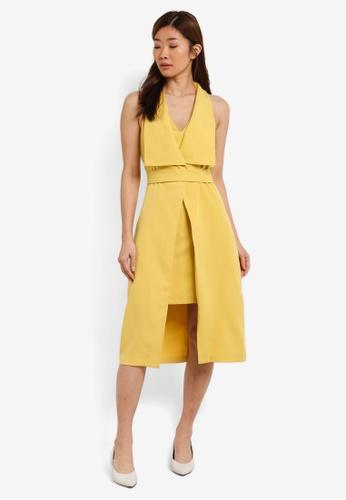 ZALORA yellow Double Layered Insert Dress 299F0AAA43748AGS_1