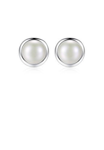 Glamorousky white 925 Sterling Silver Fashion Simple Geometric Round White Freshwater Pearl Stud Earrings 6C4B0AC02B4746GS_1