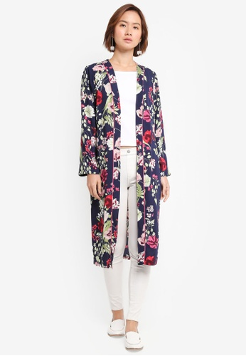 Wallis navy Navy Floral Printed Duster Jacket F2A6FAAACD1F48GS_1