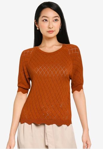 KOTON red Diamond Knit Sweater 69E9DAAC326398GS_1