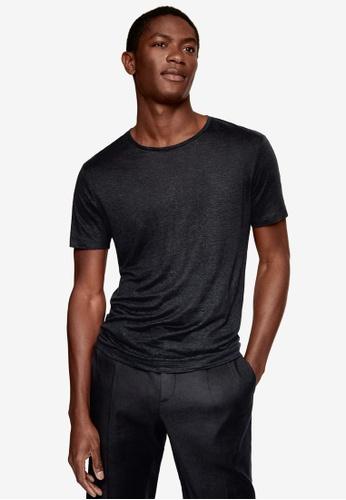 MANGO Man black 100% Linen T-Shirt F46F1AACFE089FGS_1