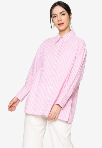 ZALIA BASICS pink Stripes Oversize Collar  Shirt 3B9DEAAC8C85F4GS_1