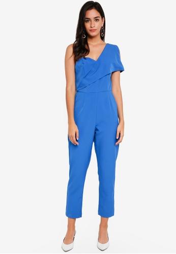 Lavish Alice blue Asymmetric Cold Shoulder Jumpsuit LA457AA0SSR8MY_1
