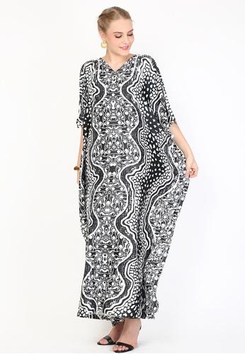 Kanzi by liza yahya black and white Kanzi Exclusive Short Sleeve Batik Kaftan E87E7AA6BC76A3GS_1
