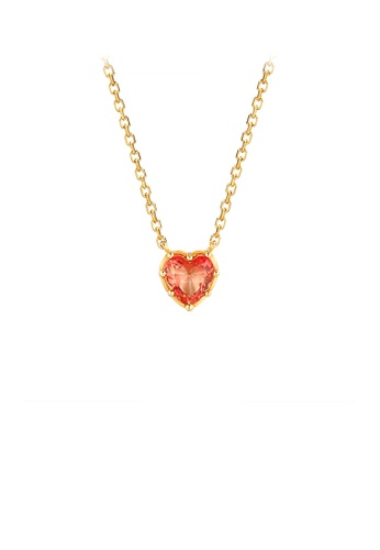 Glamorousky silver 925 Sterling Silver Plated Gold Simple Romantic Heart Pendant with Cubic Zirconia and Necklace 52454AC629ED0EGS_1