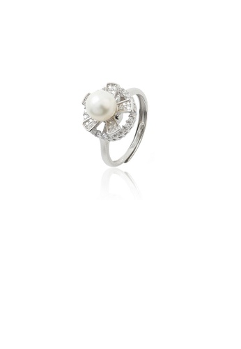 Glamorousky white 925 Sterling Silver Fashion Simple Flower Freshwater Pearl Adjustable Ring with Cubic Zirconia 5875EACC359849GS_1