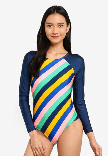Cotton On Body blue and multi Adaline Long Sleeve One Piece Swimsuit FF164US9496DA3GS_1