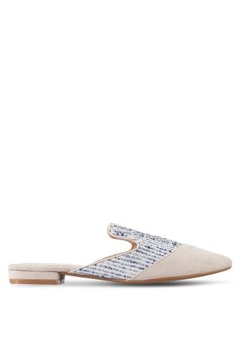 ZALORA beige Fabric Mule Flats 370A5SH86B5CCAGS_1