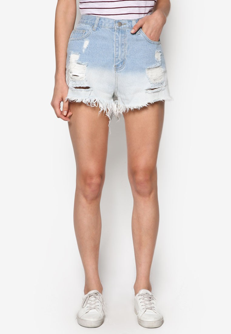 Ripped Ombre Denim Shorts