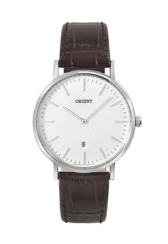 Orient silver Orient Men Watch Quartz 44MM Classic Brown Crocodile Textured Leather Strap Watch ORFGW05005W 43326AC73BB779GS_1