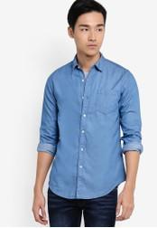 Electro Denim Lab blue Denim Long Sleeve Shirt EL966AA28XLRMY_1
