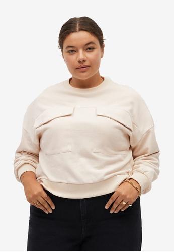 Violeta by MANGO white Pockets Cotton Sweatshirt 91E82AAEAF4E21GS_1