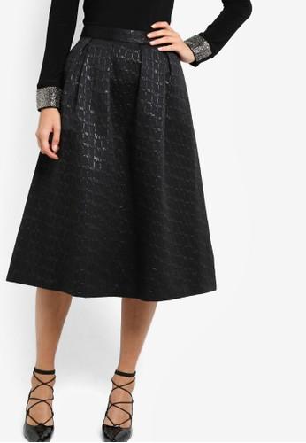 提花褶飾A 字及膝裙,zalora 包包 ptt 服飾, 服飾