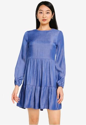 ZALORA BASICS blue Chambray Long Sleeve Babydoll Dress 38BBDAAA6E3245GS_1