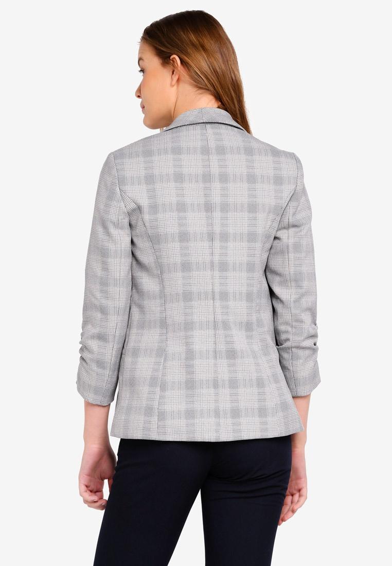 Dorothy Check Perkins Blazer Sleeve Grey Ruche ZxwTFqt